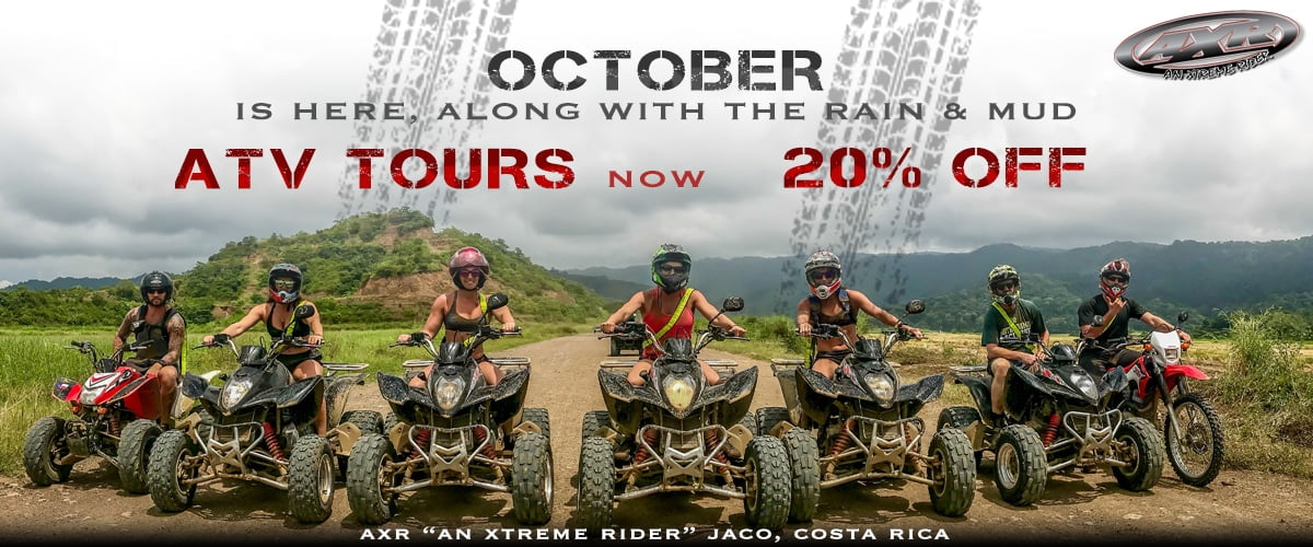 Rainy Season Promotion, ATV Tours Jaco, Jaco Beach, ATV Rentals Jaco, Jaco Dirt Bikes, Jaco Motorcycles, Costa Rica Jaco Tours, Costa Rica Jaco ATV Tours, Adventure Tours Jaco